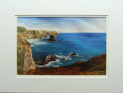 Bedruthan Steps mixed media print
