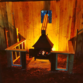 Stretch tent fireplace