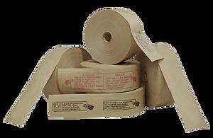 Fita Gomada em papel Kraft natural com reforços de fios de nylon e cola vegetal. Usada para fechamento e lacre de embalagens.