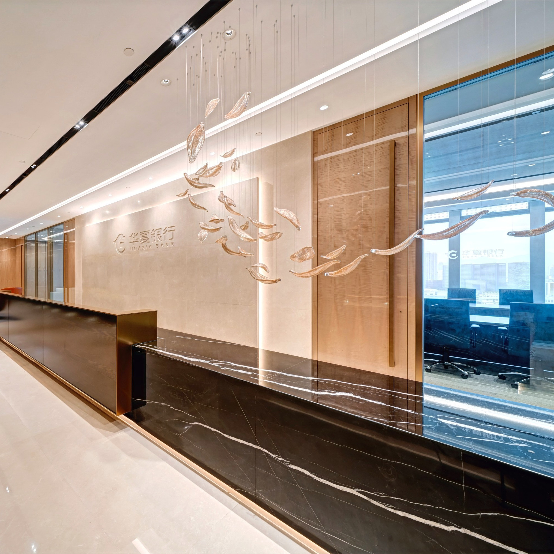 Huaxia Bank Hong Kong Branch office interior design by YO Design