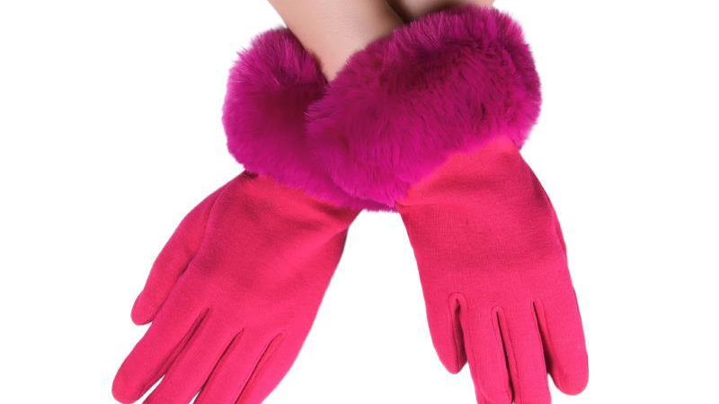 Hot Pink Faux Fur Trim Touchscreen Gloves