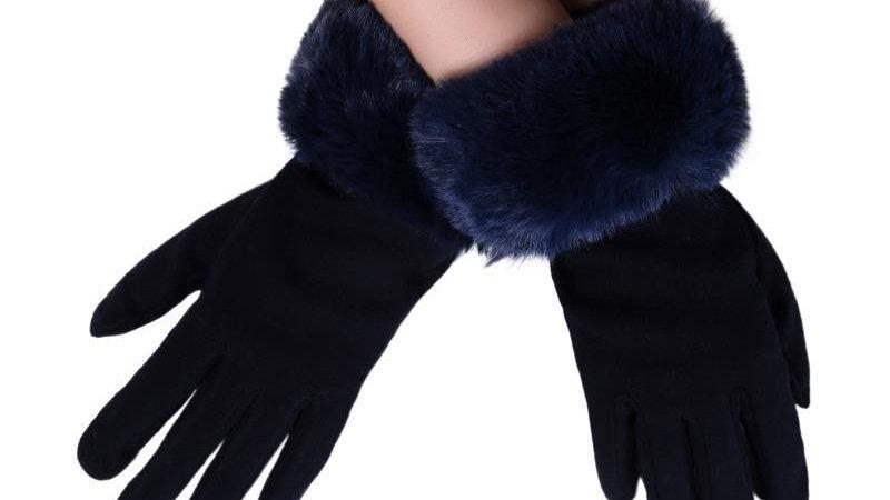Navy Faux Fur Trim Touchscreen Gloves