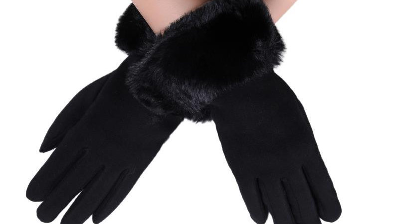 Black Faux Fur Trim Touchscreen Gloves