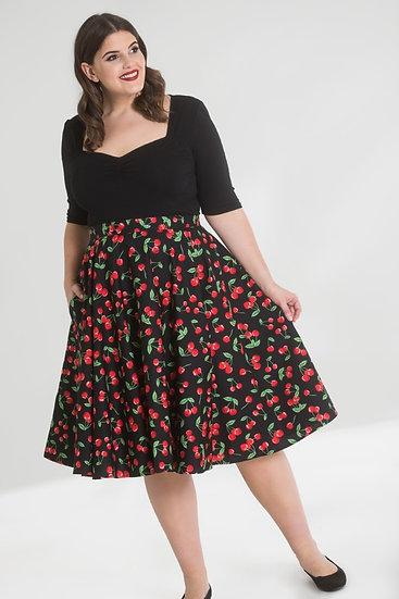 Cute Cherry Print Swing Skirt