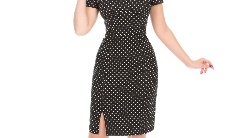 H&R London Polka Pencil Dress