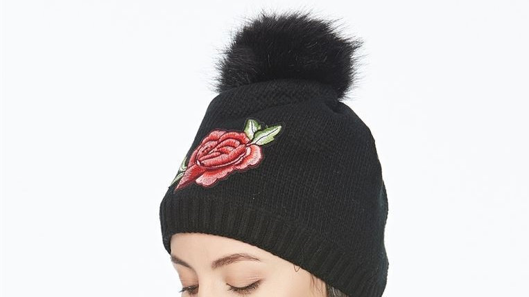 Navy Embroidery Rose Faux Fur Pom Pom Beanie Hat