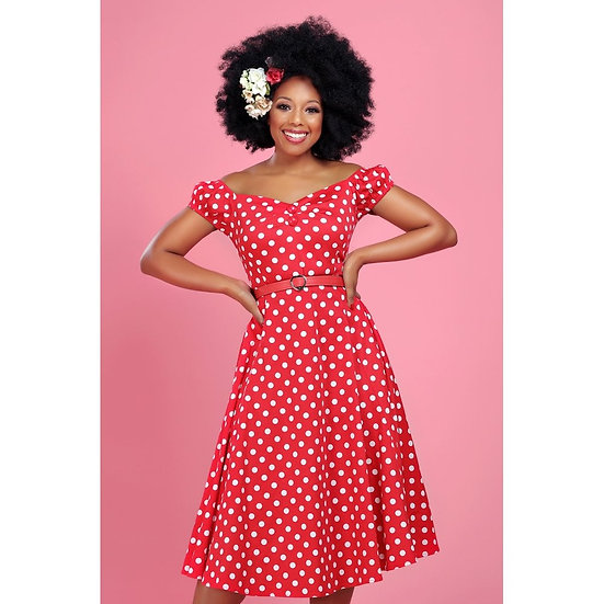 Collectif Red & White Polka Swing Dress