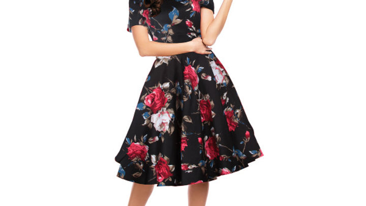 50s Floral Swing Dress