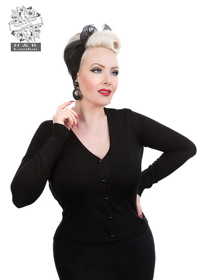 H&R London Black Cardigan. Plus Size.