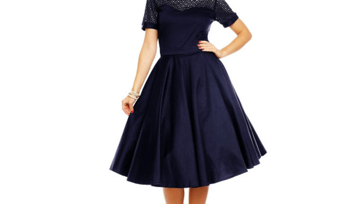 Super pretty lace trimmed 50s style dress