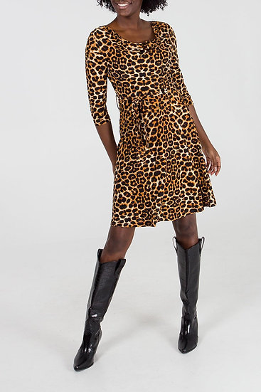 Leopard Print Fit & Flare Dress