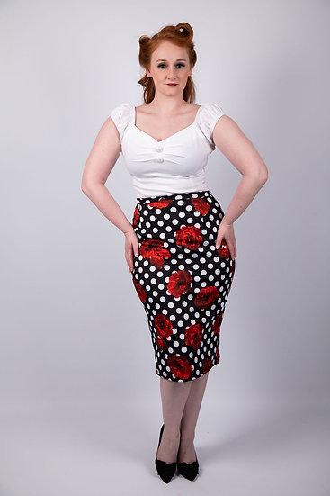 Bombshell Chic The Maria Polka Pencil Skirt