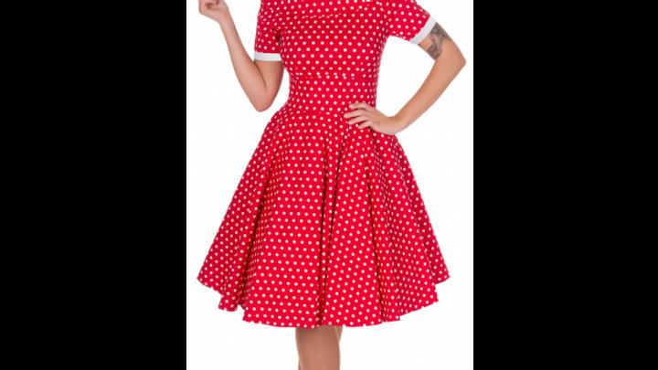 50s Red & White Polka Swing Dress