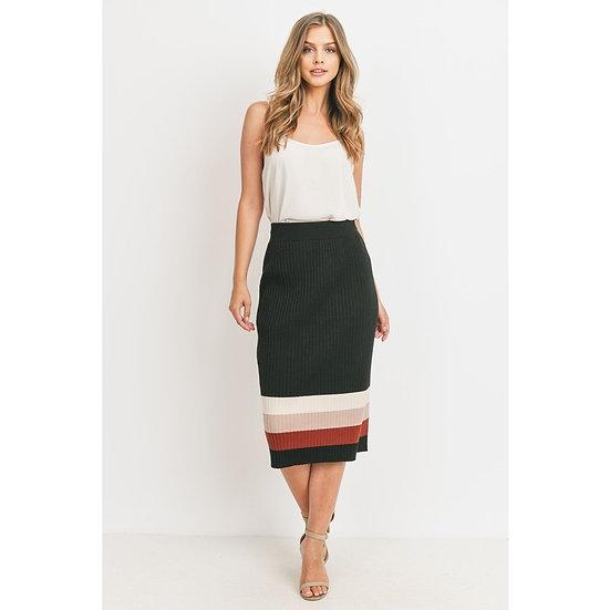 Soft Knit Colour Block Skirt