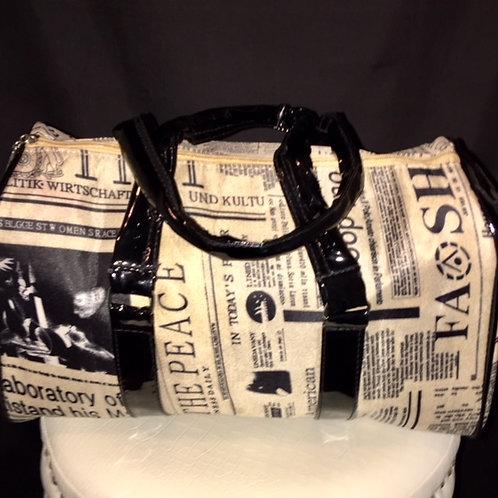 Newspaper Print Boston Bag