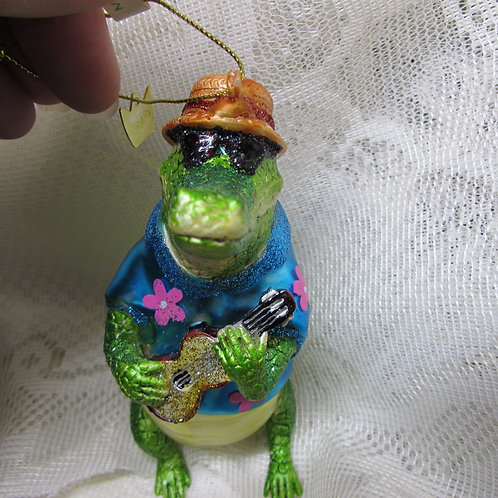 Alligator playing ukulele Christmas ornament