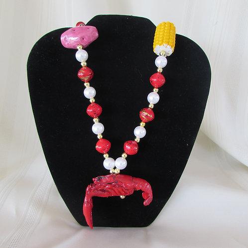 Crawfish / corn / potato Mardi Gras necklace