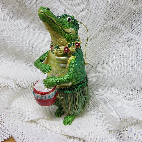 Alligator playing drum Christmas ornament