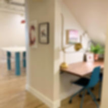Workspace options in shared coworking space for women in Salt Lake City.