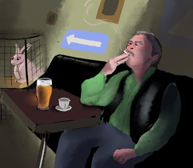 Man smoking indoors in Serbia