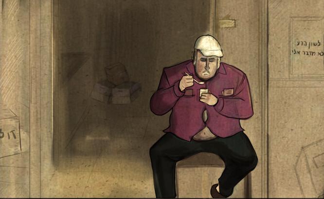 man taking break outside his shop
