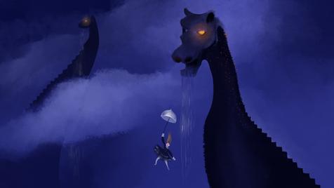 Jumping from Rain monster