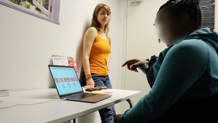 Interviewing participant in experience prototype