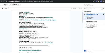 Screenshot of workshop script