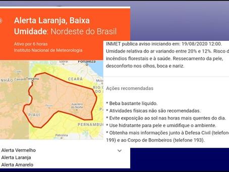 Alerta laranja, Baixa Umidade:Nordeste do Brasil, Cedro-CE entre os município no mapa.