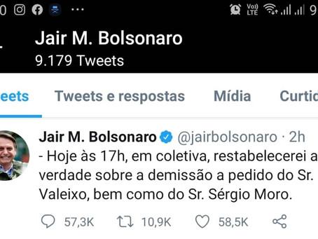 O presidente Jair Bolsonaro  fará uma declaração para a imprensa às 17hs.