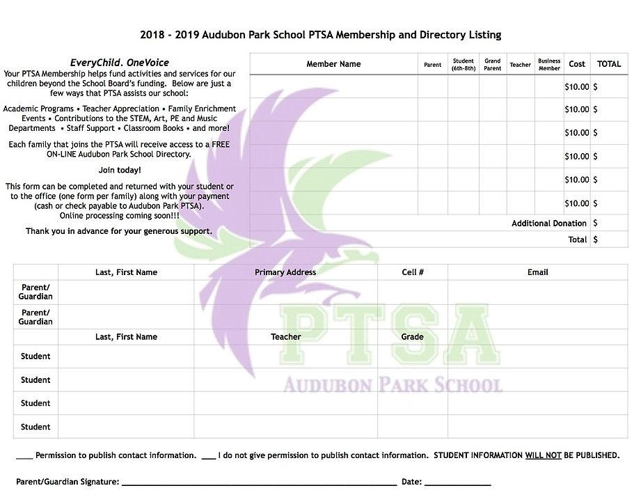Audubon Park School PTSA Membership form