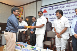 Receiving award from Honble K.C. Veeramani, Health Minister, Government of Tamilnadu