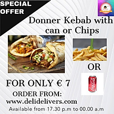 DONNER KEBAB with soft drink can or chips