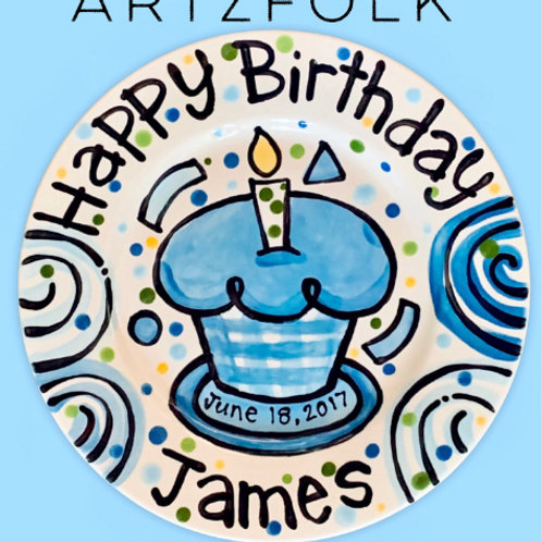 plaid checked cupcake birthday plate personalized