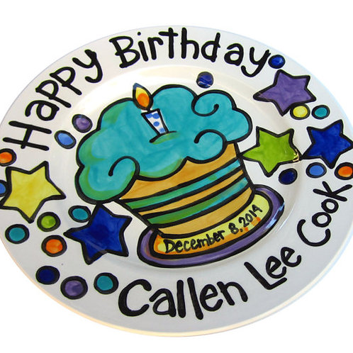 "10"" Cupcake and stars Personalized Birthday Plate"