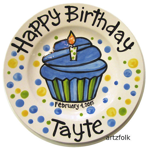 "7"" Blue dots Personalized Birthday Plate"