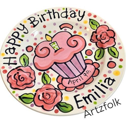pink roses  cupcake Personalized Birthday Plate Handmade Ceramic