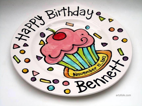 "10"" Cupcake and Confetti Personalized Birthday Plate"