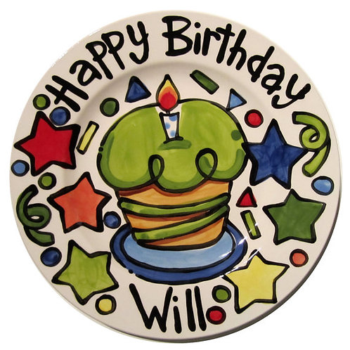 """7"""" Lime cupcake Style Personalized Birthday Plate"""