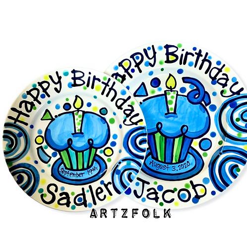 Happy birthday custom ceramic plate by Artzfolk