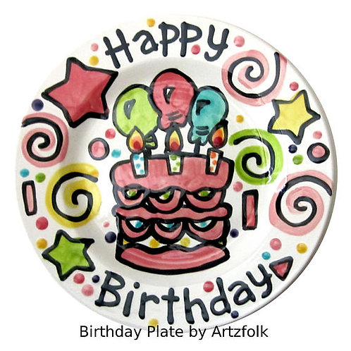 "10"" Pink Party Personalized Birthday Plate"
