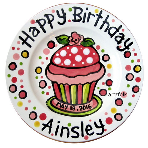 Daisy or Rose and cupcake Personalized Birthday Plate