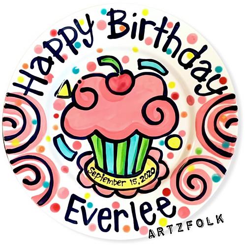 Party swirls handmade birthday plate personalized