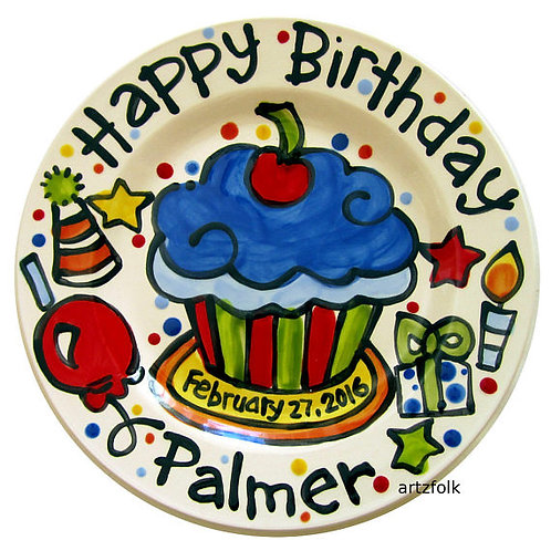 "10"" Party Style Personalized Birthday Plate"