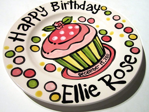 "10"" little Rose Personalized Birthday Plate"
