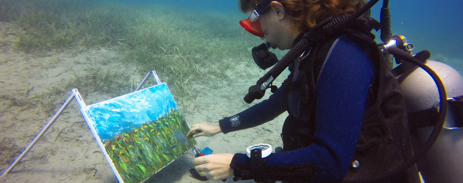 Student creates her artwork from life nature underwater.