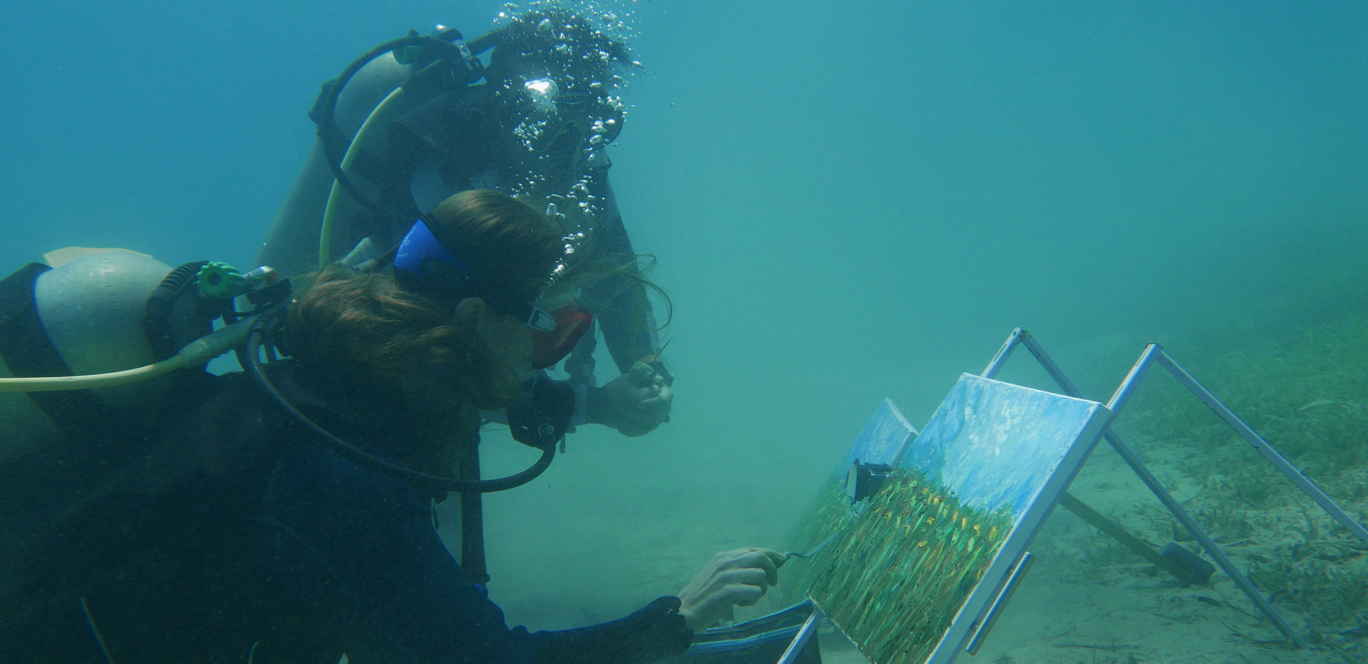 The process of underwater painting