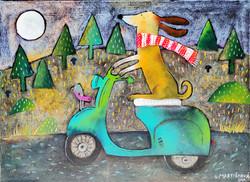Jezevčík na mopedu