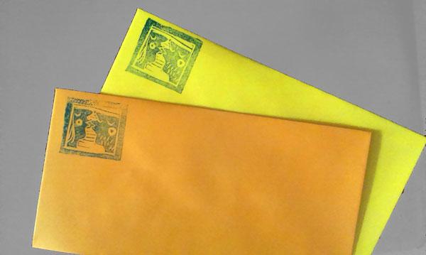 Obálky s linorytem - ukázka