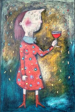 Dívka s vínem I